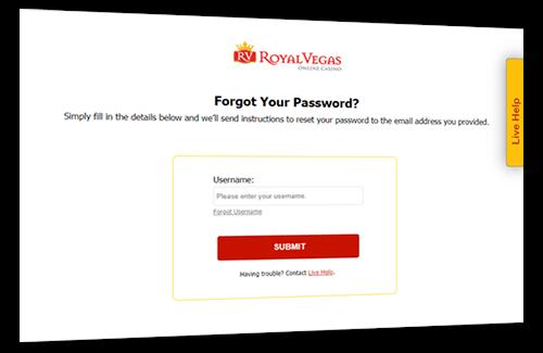 Password reset form at Royal Vegas