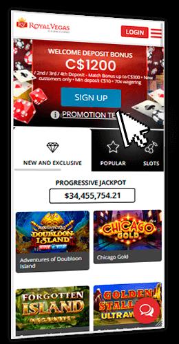 Royal Vegas mobile casino on smartphone