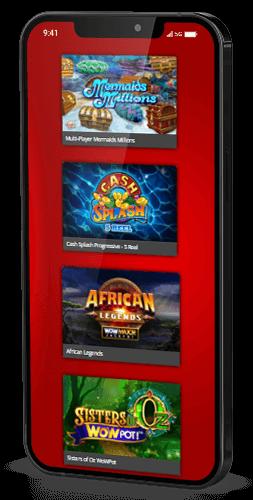 Mobile casino game selection