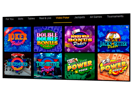Large selection of poker games